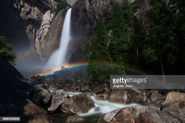 double moonbow of lower yosemite fall - moonbow ストックフォトと画像