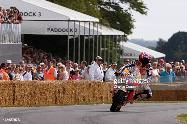 Double Moto GP champion Casey Stoner with his Honda at Goodwood on June 26 2015 in Chichester England