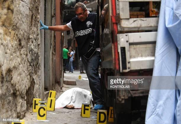 Double murder by Camorra The victims are Edoardo Amoruso and Salvatore Dragonetti carabinieri and Scientific police investigate at the crime scene
