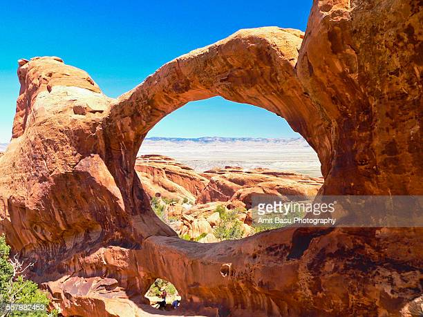 double o arch at arches national park, utah - double arch stock pictures, royalty-free photos & images