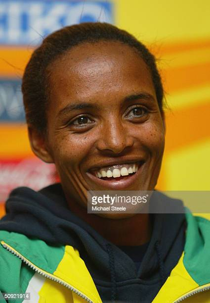 Double Olympic 10000M Champion Derartu Tulu of Ethiopia speaks to the media at a press conference on the eve of the IAAF World Cross Country...