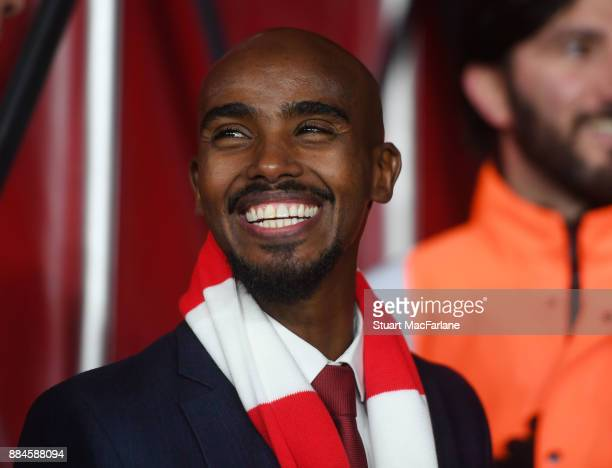 Double Olympic and World Champion athlete and Arsenal fan Mo Farah before the Premier League match between Arsenal and Manchester United at Emirates...