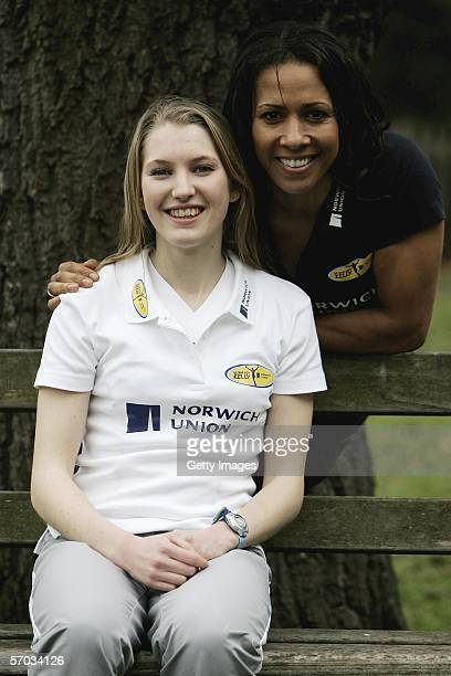 Double Olympic Champion Dame Kelly Holmes poses for a photo with Hannah Brooks as she prepares to head off to Melbourne to continue mentoring the...
