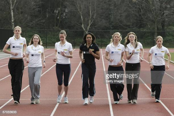 Double Olympic Champion Dame Kelly Holmes runs with girls from ' On Camp with Kelly' Hannah England Hannah Brooks Nicola Maddick Kelly Holmes Jo...