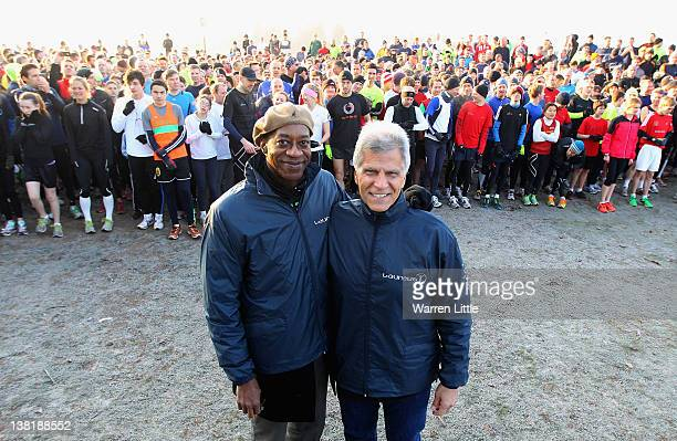 Double Olympic champion Edwin Moses and Olympic swimming legend Mark Spitz pictured at the start line as they join hundreds of runners in the 5km...