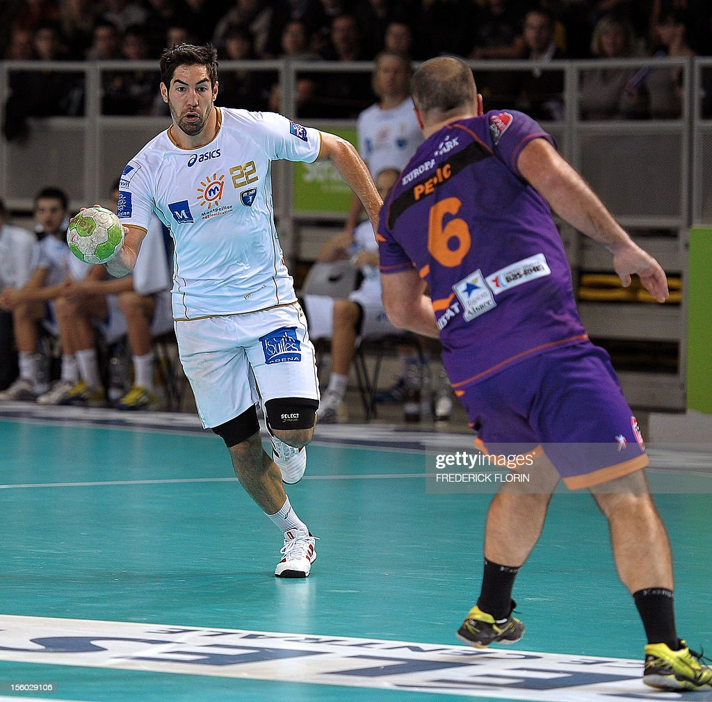Double Olympic handball champion Nikola Karabatic (L) plays during his first match with the Montpellier's team against Selestat for the first time after being implicated in the a high-profile match-fixing scandal, on November 11, 2012 in Strasbourg,eastern France. Karabatic, along with 10 other people including his brother Luka, is being investigated by police on suspicion of fraud relating to unusual betting patterns on a match involving his club Montpellier and Cesson-Sevigne on May 2012.