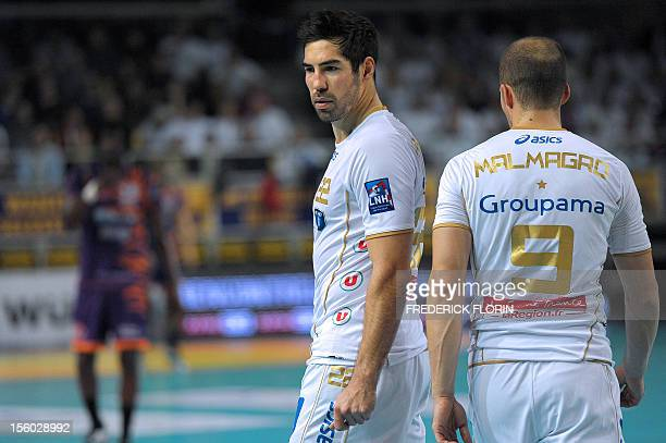 Double Olympic handball champion Nikola Karabatic reacts during his first match with the Montpellier's team against Selestat for the first time after...