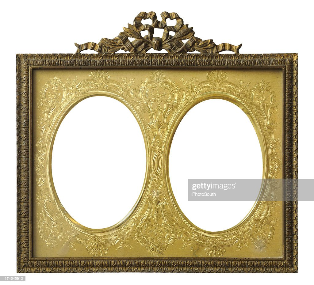 Double oval gold frame stock photo getty images double oval gold frame jeuxipadfo Image collections