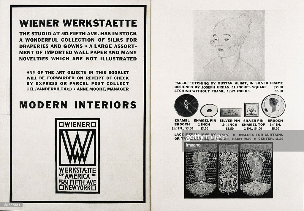 Double page in the catalog of the Wiener Werkstaette of America Inc. The 'Wiener Werkstaette of America Inc. ' was founded in 1922 by Josef Urban. Letterpress printing. 1922. : News Photo