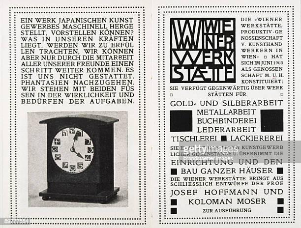 Double page of the work schedule of the Wiener Werkstaette Print August Chwala Vienna Letterpress printing 1905