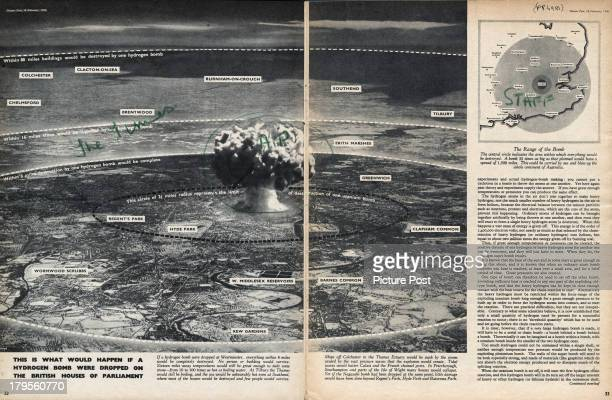A double page spread from a Picture Post magazine article by Derek Wragge Morley entitled 'Can Man Survive The Hydrogen Bomb' February 1950 The...