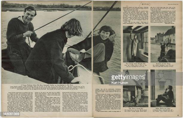 A double page spread in Picture Post magazine from a feature on English novelist Emma Smith April 1950 Smith is pictured sailing with her publisher...