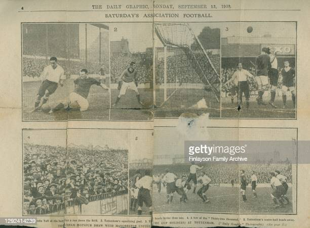 Double page spread of pictures from the Daily Graphic newspaper featuring footballer Walter Tull playing for Tottenham Hotspur at White Hart Lane in...