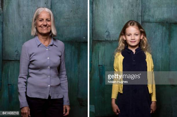 Double portrait of older woman and young girl smiling at camera