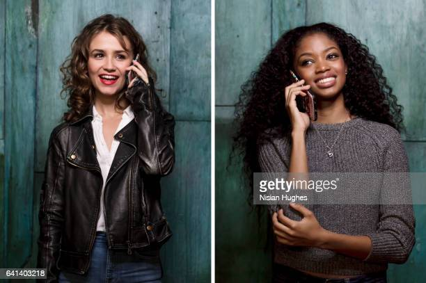 Double portrait of two young women talking on cell phones