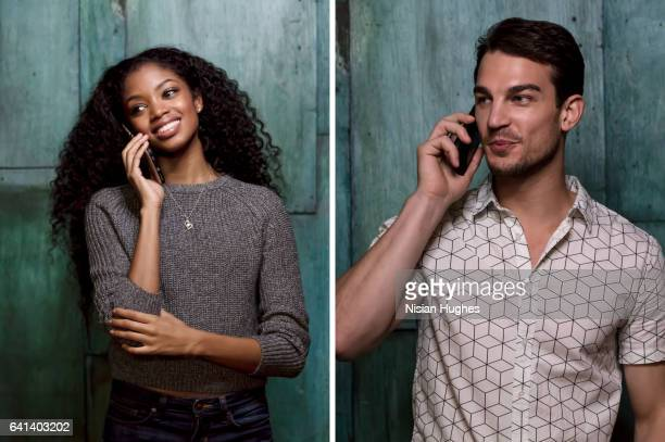Double portrait of young man and woman talking on cell phones
