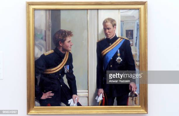 A double portrait painting of Prince William and Prince Harry is unveiled at the National Portrait Gallery on January 6 2010 in London England This...