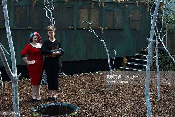 Double R Club actress Rose Thorne and Jo Gilliver holding a log stand in the recreated set of the forrest near the train car where Laura Palmer was...