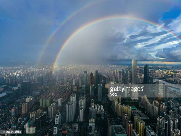 Double rainbow appears after a rain on June 17, 2020 in Guangzhou, Guangdong Province of China.