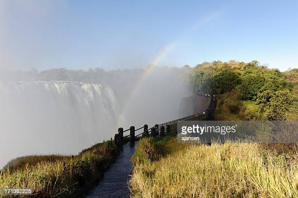 double rainbow at the victoria falls, unesco heritage, zambia