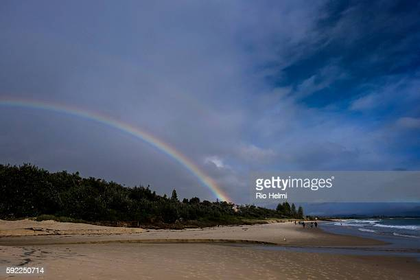 A double rainbow in winter over the beach in Byron Bay in northern NSW Australia