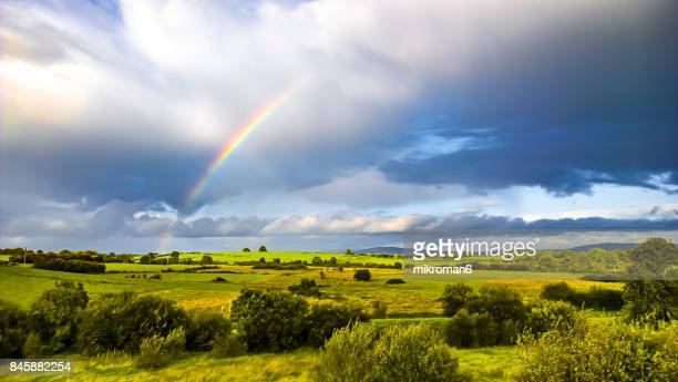 Double rainbow landscape in beautiful Irish landscape scenery. Co Tipperary Ireland.