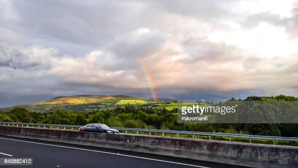Double rainbow landscape in beautiful Irish landscape scenery. Co Tipperary Ireland.