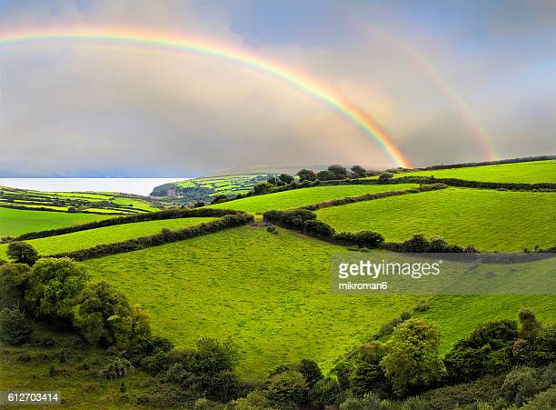 Double rainbow landscape in Dingle Peninsula scenery.