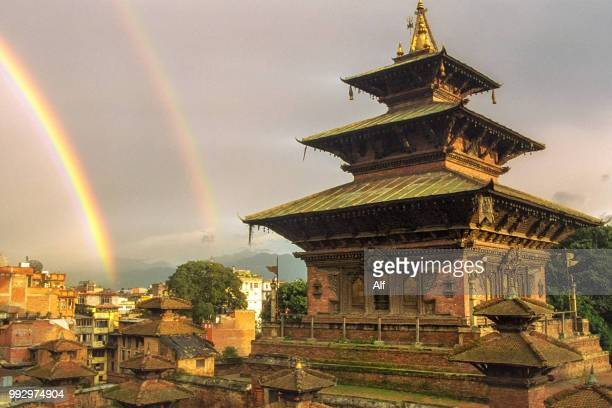 Double rainbow over Durbar Square in Kathmandu, Kathmandu, Nepal