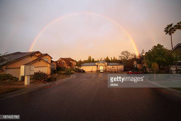double rainbow over my neighborhood - cul de sac stock pictures, royalty-free photos & images
