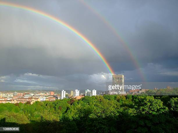 A double rainbow over Sheffield, United Kingdom