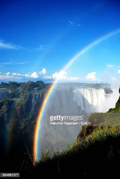 Double Rainbow Over Victoria Falls Against Sky