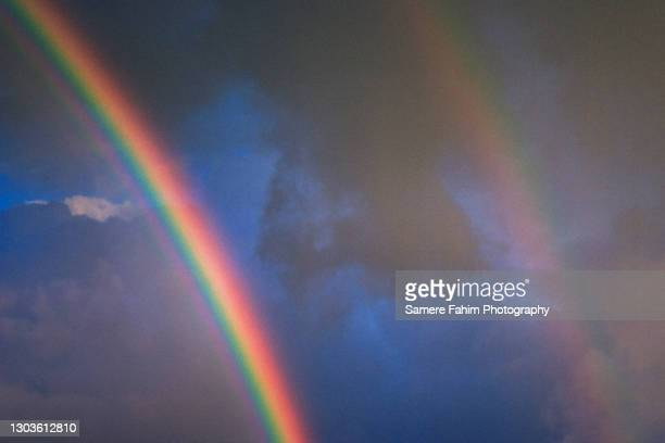 double rainbow - hainaut stock pictures, royalty-free photos & images