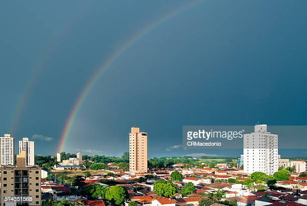 double rainbow. - crmacedonio stock photos and pictures