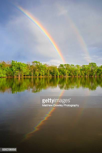 double rainbow reflection - geneva illinois stock pictures, royalty-free photos & images