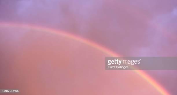 double rainbow, segment, atmospheric optical phenomenon, bavaria, germany - light natural phenomenon stock photos and pictures