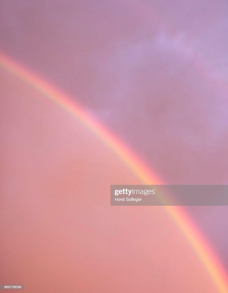 Double rainbow segment, atmospheric optical phenomenon, Bavaria, Germany : Stock Photo