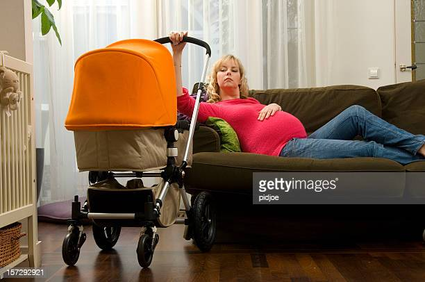 double shift for pregnant woman on couch
