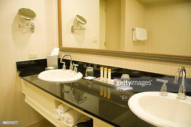 double sink with marble vanity - grooming product stock photos and pictures