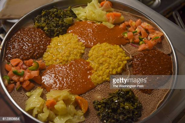 A double vegetarian platter at Zenebech Restaurant a popular Ethiopian eatery beloved by Ethiopians and Americans alike on Friday September 30 2016...