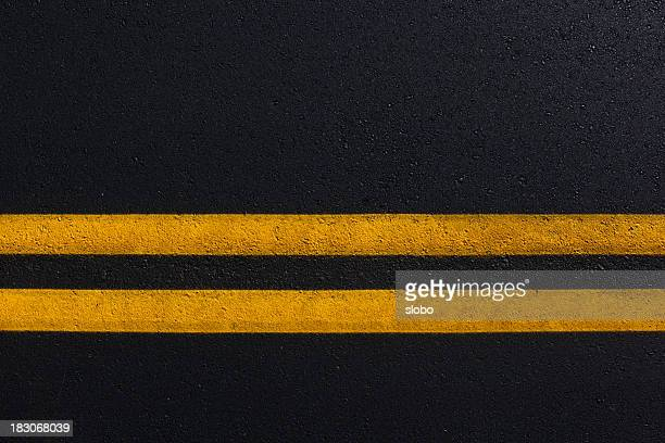 Double Yellow Line On New Asphalt Road