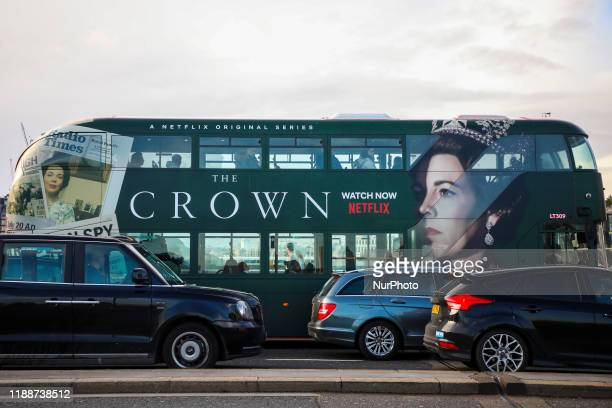 Double-decker bus advertises a new season of Netflix 'The Crown' series in London, United Kingdom on 11 December, 2019.