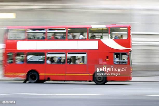 Double-decker bus in motion