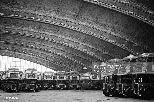 Doubledecker buses at Stockwell Bus Garage south London 26th February 1967 Most are Leyland Titans but there are two AEC Routemasters at centre
