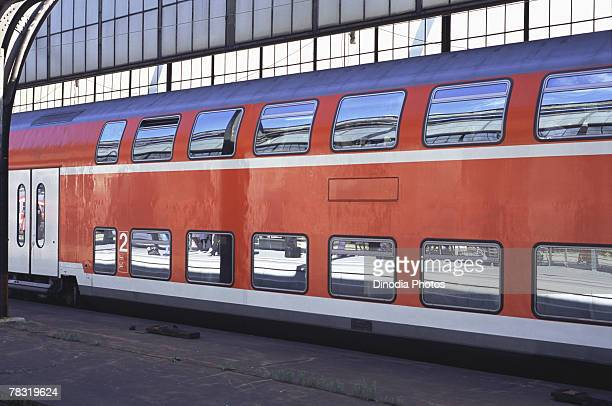 double-decker train in germany - double decker bus stock pictures, royalty-free photos & images