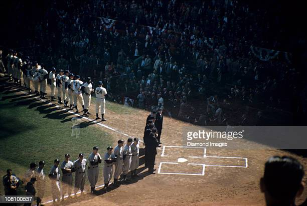 A doubleexposure general view from the upper deck seats along the thirdbase line prior to game one of the World Series game on October 3 1956 between...