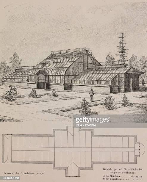 Doubleglazed greenhouse built by Nathaniel Rothschild in Vienna Austria engraving Skizzen und Typen plate 189 designs by Rudolph Philip Waagner 1891
