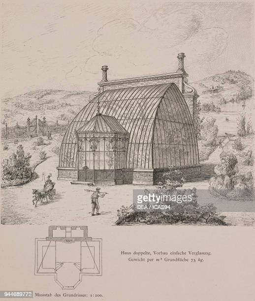Doubleglazed greenhouse built for Philipp von Haas in Vienna Austria engraving Skizzen und Typen plate 182 designs by Rudolph Philip Waagner 1891