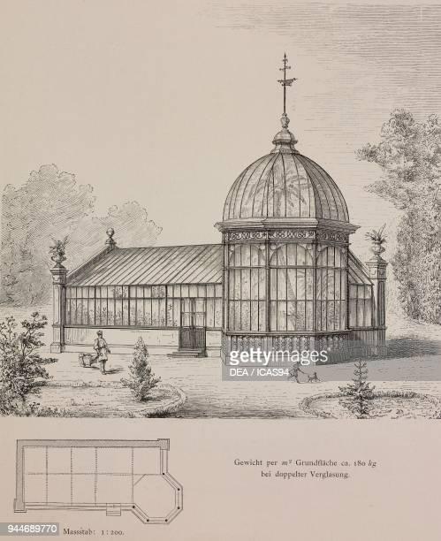 Doubleglazed winter garden built for Adalmar Breden in Vienna Austria engraving Skizzen und Typen plate 179 designs by Rudolph Philip Waagner 1891