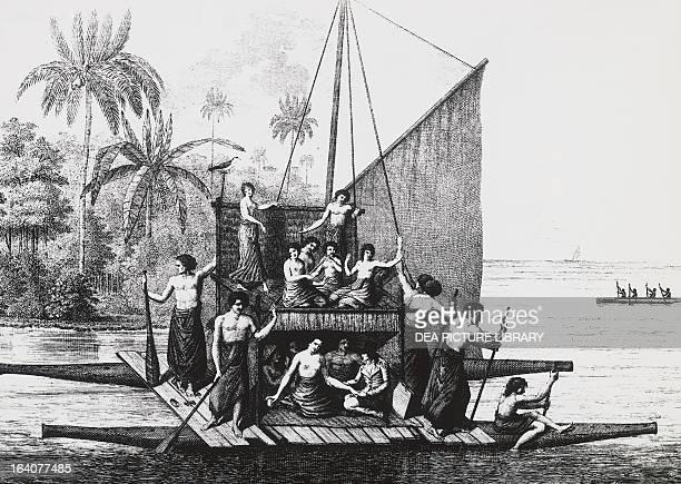 Doublehulled canoe Tonga Island engraving from Atlas du voyage a la recherche by La Perouse 17911792 Polynesia 18th century